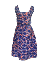 Load image into Gallery viewer, Batik blue orange squares-Dress-Letasi Design Studio