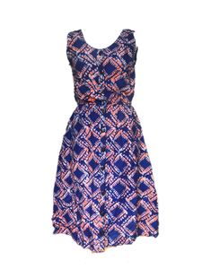 Batik blue orange squares-Dress-Letasi Design Studio