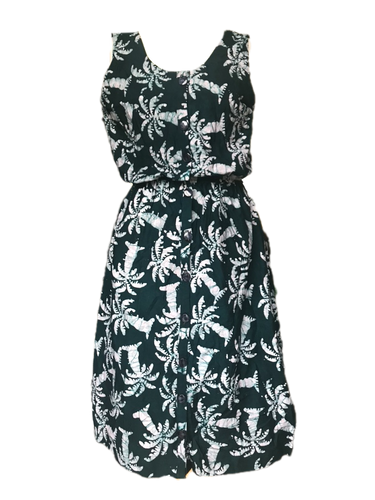 Batik deep green palm trees-Dress-Letasi Design Studio