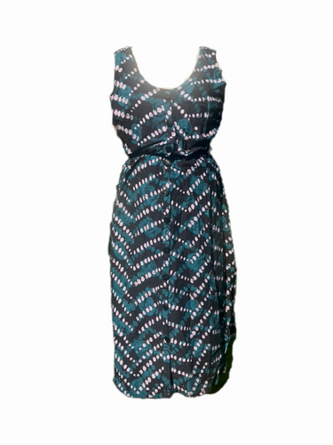 Batik diagonals white green-Dress-Letasi Design Studio