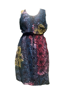 Batik multicoloured flowers-Dress-Letasi Design Studio