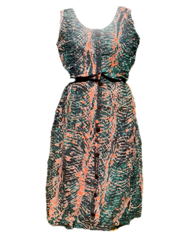 Batik orange spiral on green-Dress-Letasi Design Studio