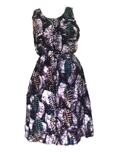 Batik purple leaves all over-Dress-Letasi Design Studio