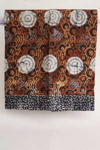 Batik white spirals brown waves-fabric-Letasi Design Studio