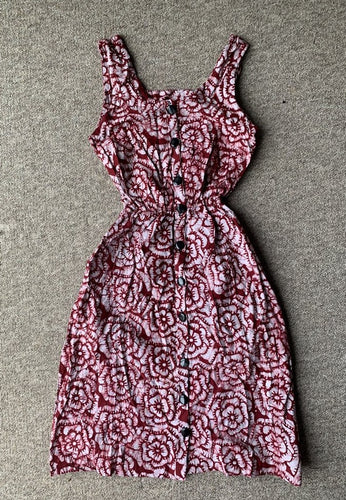 Batik red rose flower-Dress-Letasi Design Studio