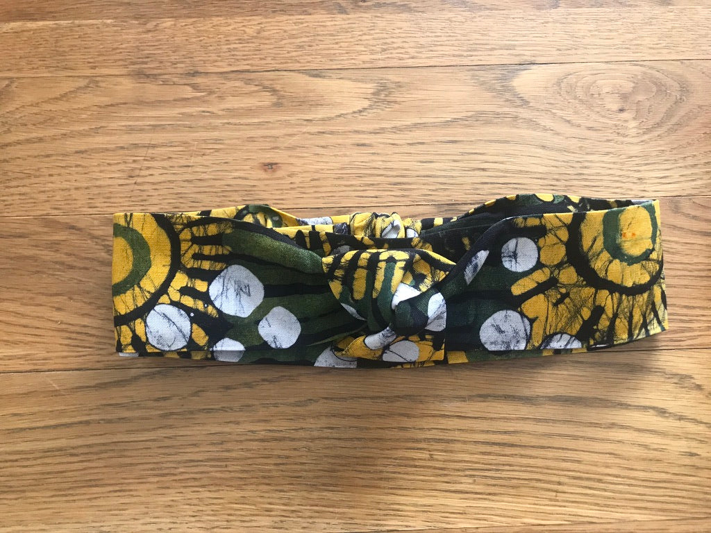 Batik green yellow sunflower headband-Headband-Letasi Design Studio