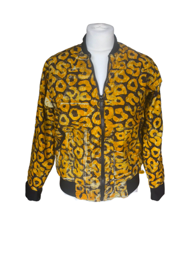 Batik Orange spotted Bomber Jacket-Jackets-Letasi Design Studio
