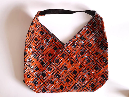 Batik orange with black windows origami tote bag-Origami tote bag-Letasi Design Studio