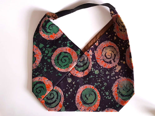 Batik orange green spirals origami tote bag-Origami tote bag-Letasi Design Studio