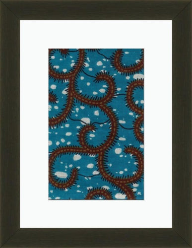Blue Earthworms-Framed Fabric-Letasi Design Studio