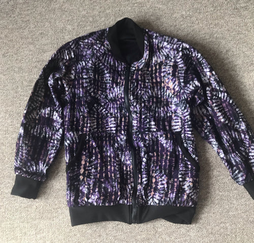 Batik Purple dot lines Bomber Jacket - size 12-Jackets-Letasi Design Studio