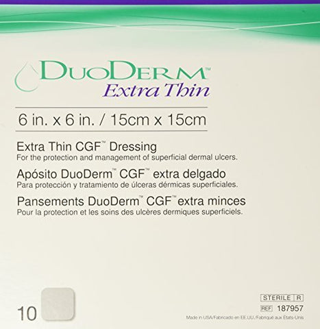 DuoDERM Extra Thin 187957 | Square: 6 x 6 Inch by ConvaTec (10 Count)