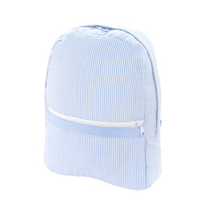 Mint Light Blue Seersucker Backpack