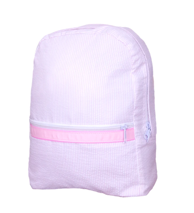Mint Pink Seersucker Backpack