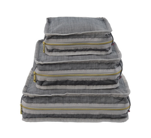 Mint Grey Chambray Seersucker Packing Cubes