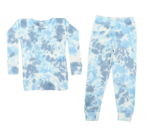 Light Blue Tie Dye Two-Piece Thermal Pajamas