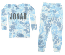 Load image into Gallery viewer, Light Blue Tie Dye Two-Piece Thermal Pajamas