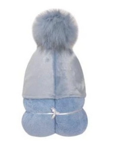 Blue Pom-pom Hooded Towel