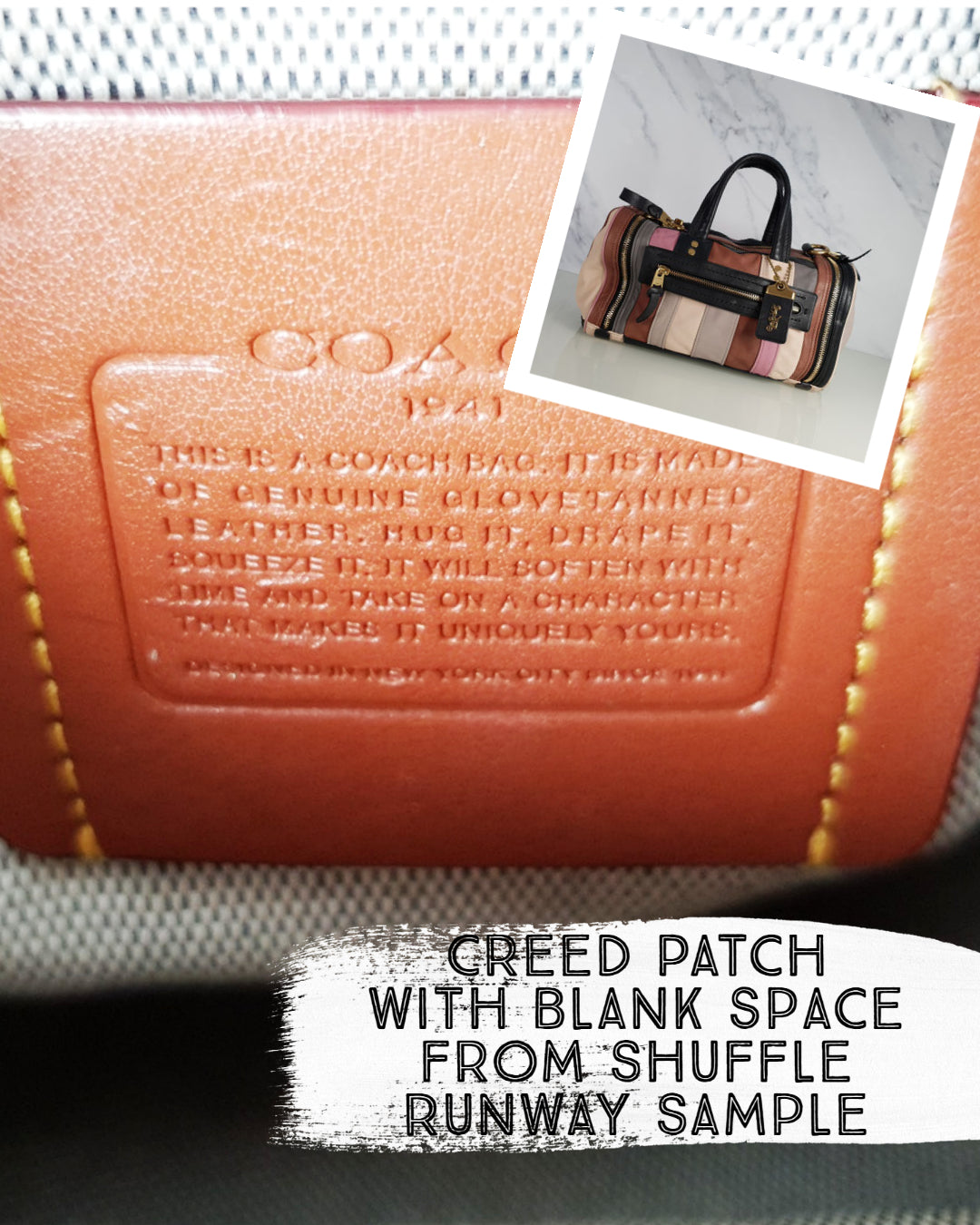 Coach shuffle runway sample bag blank creed patch no style number