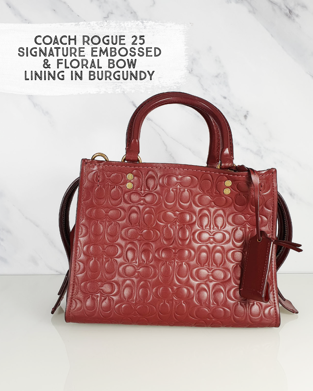 Coach Rogue 25 in Signature Embossed Smooth Leather and Floral Bow lining - Essex Fashion House