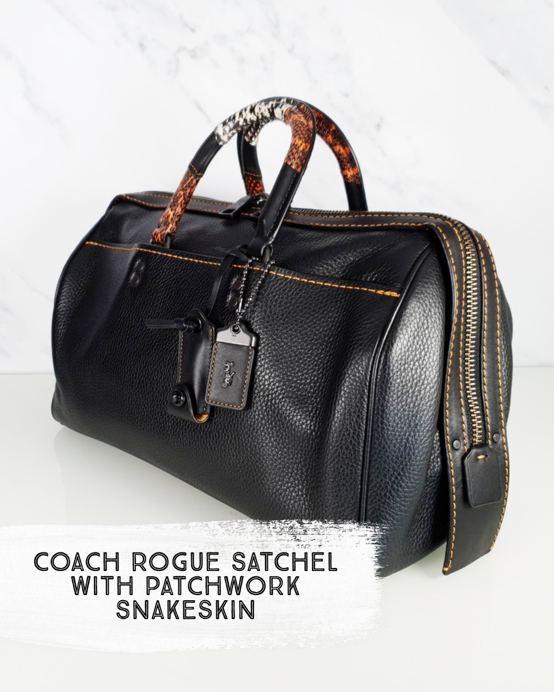 Coach Rogue Satchel in Black Pebble Leather With Patchwork Snakeskin Handle - Essex Fashion House
