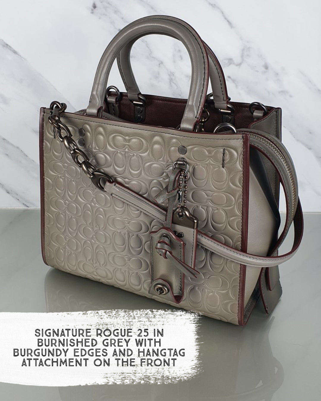 Coach Sample Bag Rogue 25 Signature Embossed Burnished Leather C-Chain straps