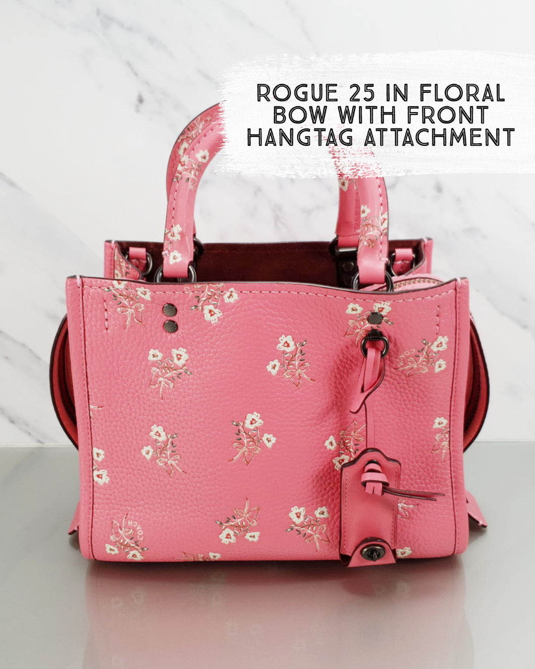 Coach 1941 Rogue 25 in Pink Floral Bow Leather Sample bag Handbag
