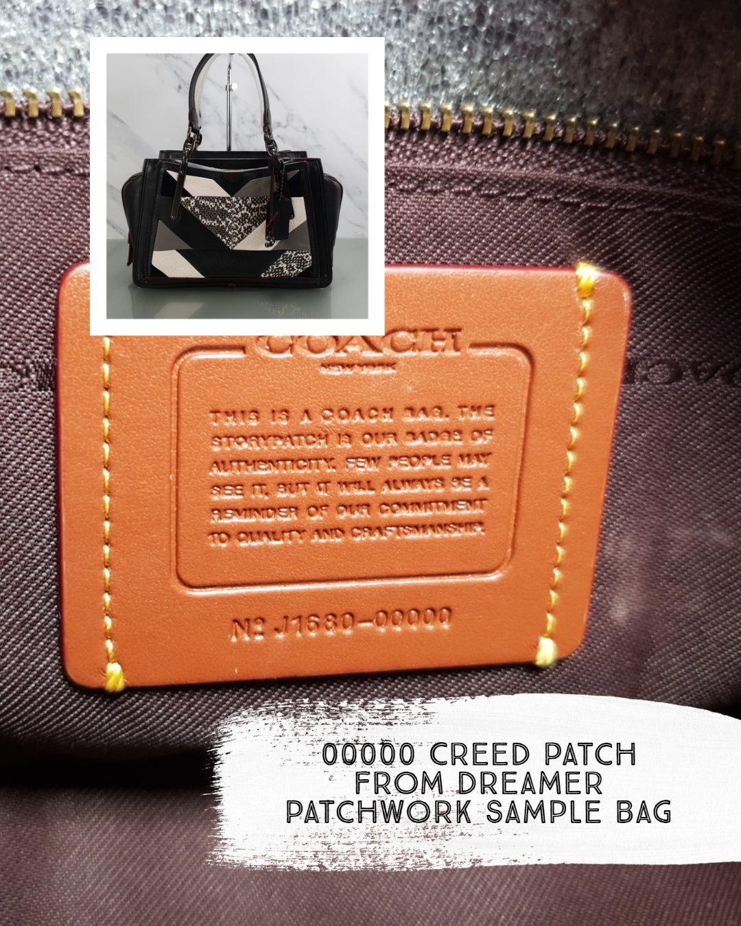 Coach sample bag dreamer snakeskin patchwork 00000 style number creed patch