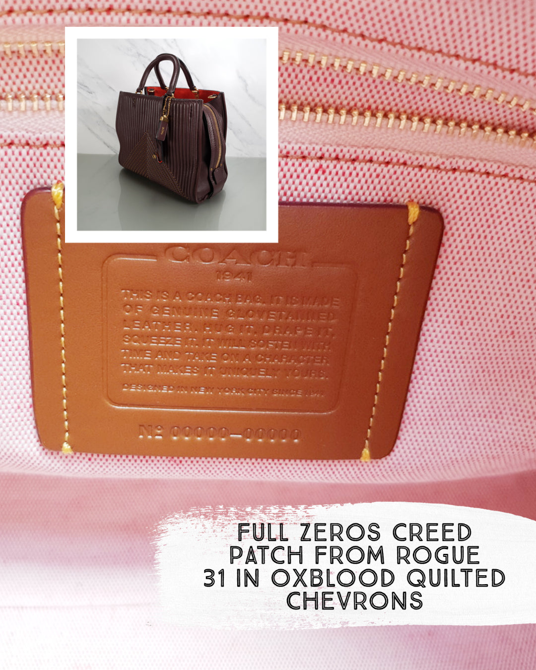 Coach Sample Bag Rogue 31 Oxblood Quilted Rivets Chevrons
