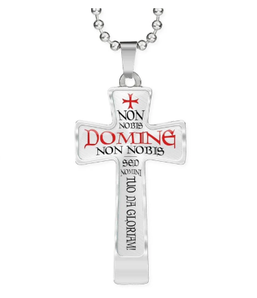 A Knights Templar Crusader Cross Necklace Pendant that features the famous Templar motto and a Templar cross