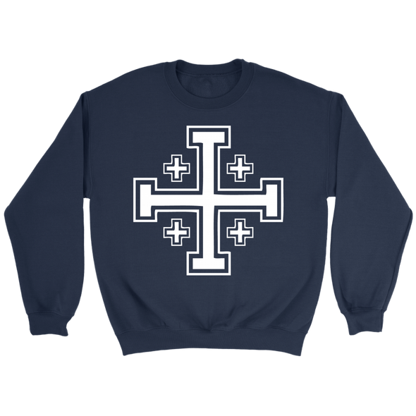 White Jerusalem Cross Crewneck Sweatshirt