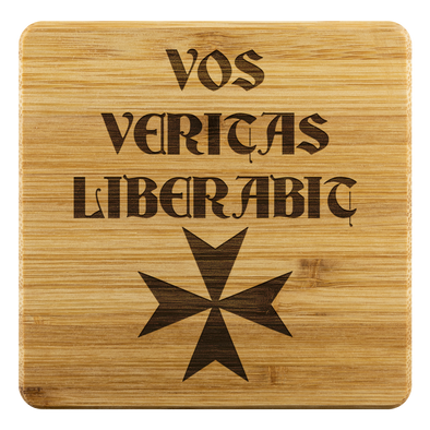 Vos Veritas Liberabic + Maltese Cross Coasters