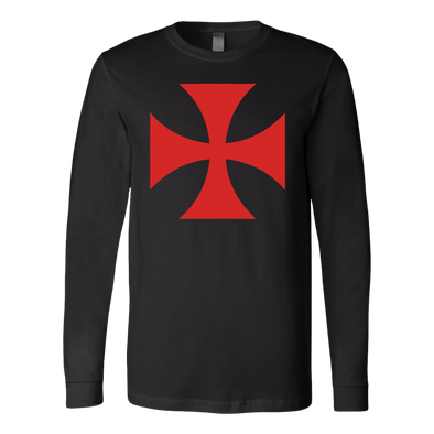 Red Templar Cross Canvas Long Sleeve Shirt