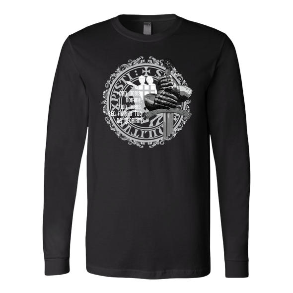 Knight Sword - Latin Message Canvas Long Sleeve Shirt
