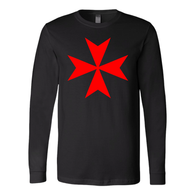 Red Maltese Cross Canvas Long Sleeve Shirt