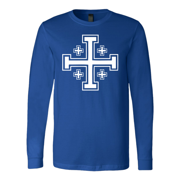 White Jerusalem Cross Canvas Long Sleeve Shirt