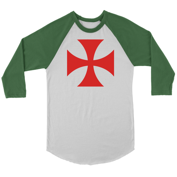 Red Templar Cross Canvas Unisex 3/4 Raglan