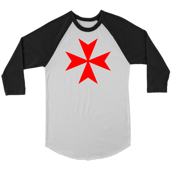 Red Maltese Cross Canvas Unisex 3/4 Raglan