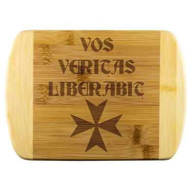 Vos Veritas Liberabic + Maltese Cross Wood Cutting Board
