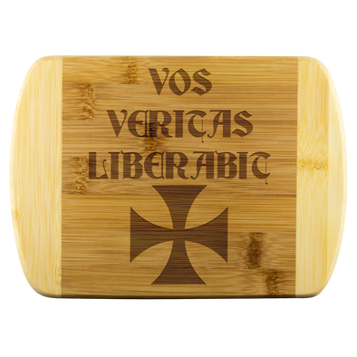 Vos Veritas Liberabic + Templar Cross Wood Cutting Board