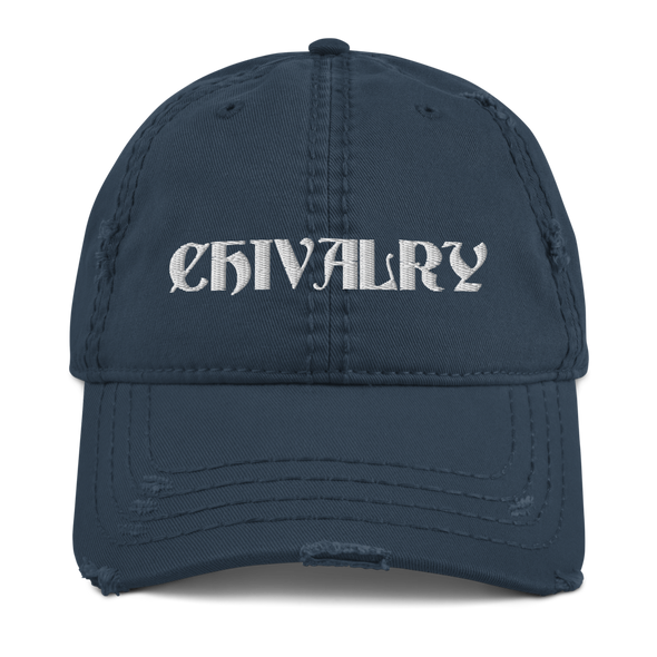 White Chivalry Distressed Dad Hat
