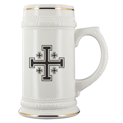 Black Jerusalem Cross Beer Stein