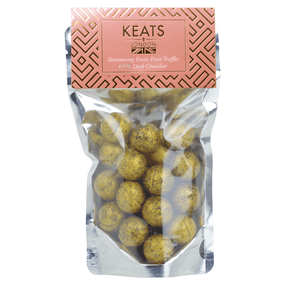 Load image into Gallery viewer, Keats Shimmering Dark Chocolate Shimmering Mini Truffles Exotic Fruit Flavours 140g - Keats Chocolatier London