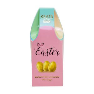 Keats Milk Chocolate Golden Mini Eggs, Basket Box 140g - Keats Chocolatier