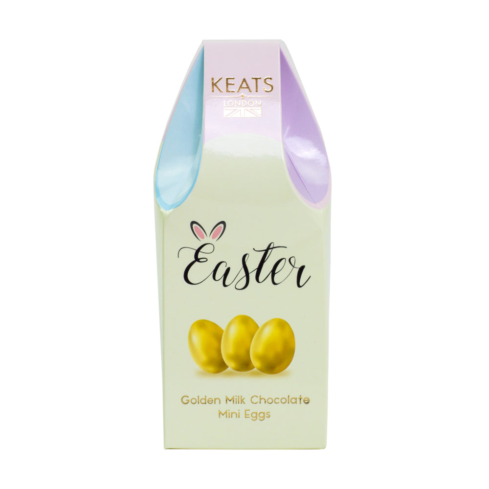 Keats Milk Chocolate Golden Mini Eggs, Basket Box 140g - Keats Chocolatier London