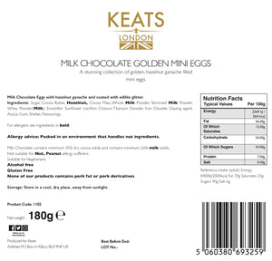 Keats Milk Chocolate Golden Mini Eggs 30 Pieces Gift Box - Keats Chocolatier London