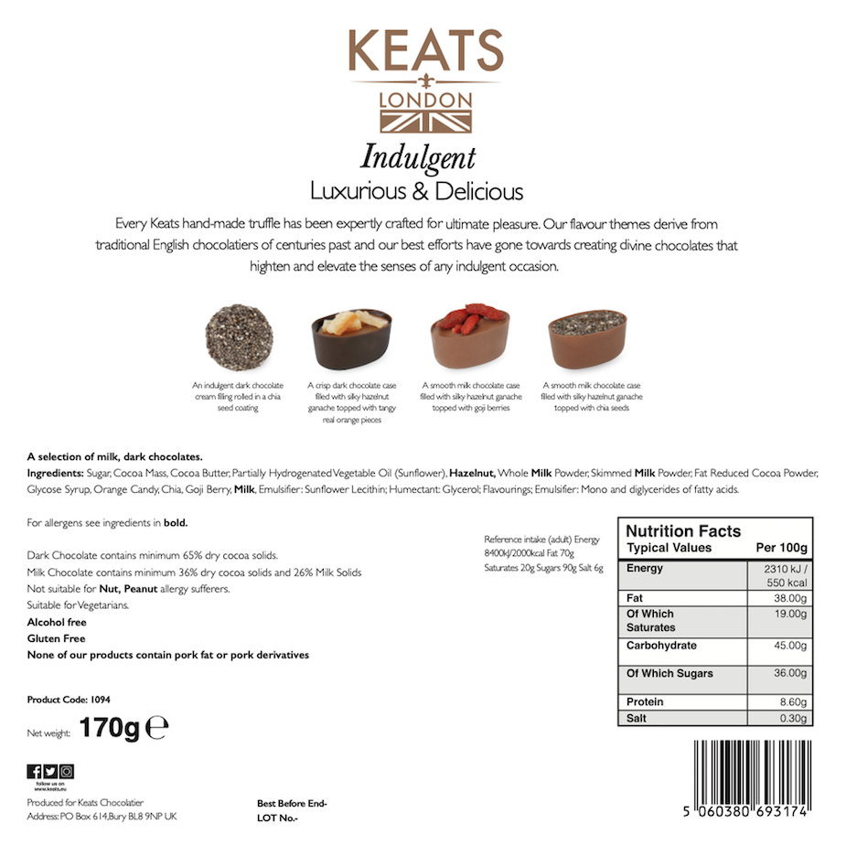 Load image into Gallery viewer, Keats Original Chia seed and Fruit Chocolate, Golden Gift Box 16pcs - Keats Chocolatier London