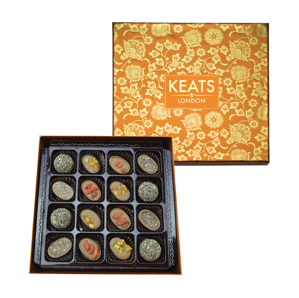 Keats Original Chia seed and Fruit Chocolate, Golden Gift Box 16pcs - Keats Chocolatier London