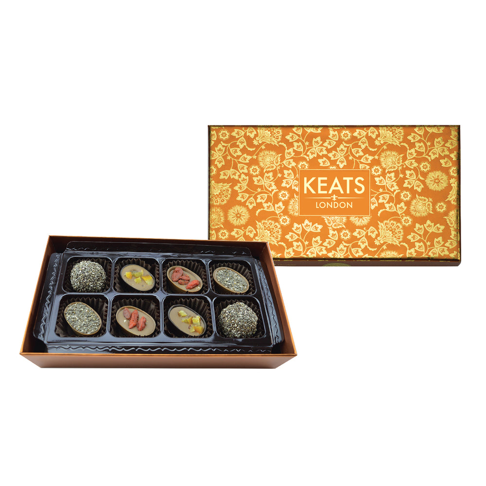 Keats Original Chia seed and Fruit Chocolate, Golden Gift Box 8pcs - Keats Chocolatier London