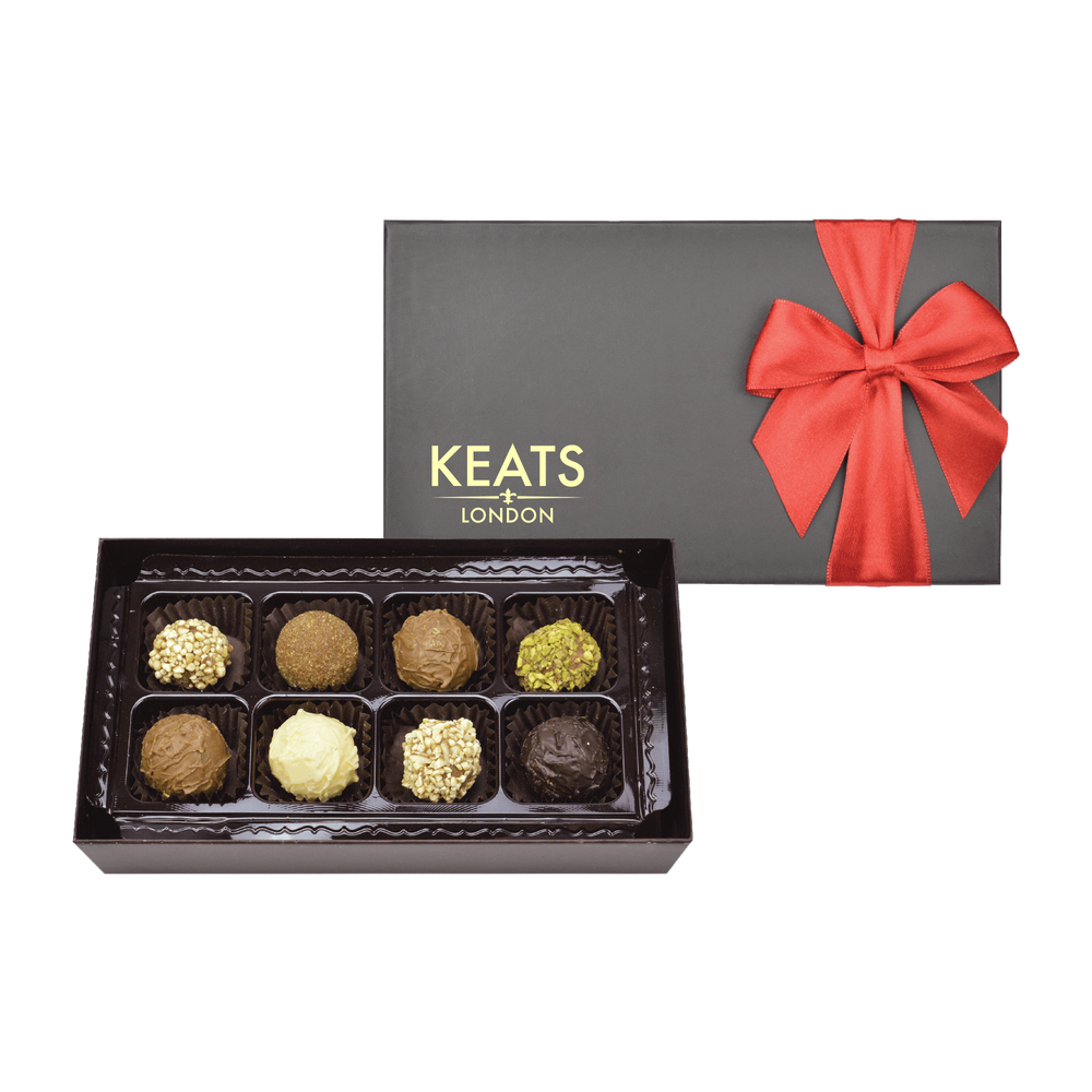 Luxury Truffle Selection, Red Bow Box 8 pieces, 90g - Keats Chocolatier London